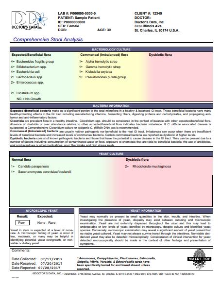 screen shot of Doctor's data Comprehensive stool analysis
